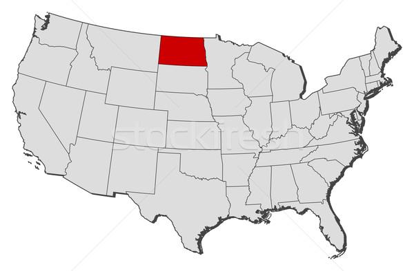 Harita Amerika Birleşik Devletleri Kuzey Dakota siyasi birkaç dünya Stok fotoğraf © Schwabenblitz