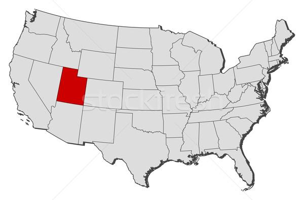Foto stock: Mapa · Estados · Unidos · Utah · político · vários · abstrato