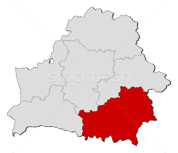 Map of Belarus, Homiel highlighted Stock photo © Schwabenblitz
