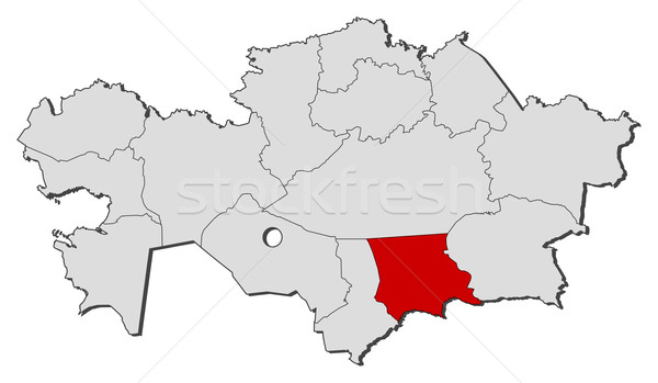 Map of Kazakhstan, Jambyl highlighted Stock photo © Schwabenblitz