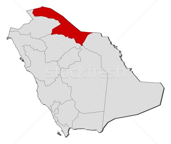 Kaart Saoedi-Arabië noordelijk politiek verscheidene Stockfoto © Schwabenblitz