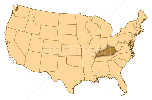 Stock photo: Map of United States, Kentucky highlighted