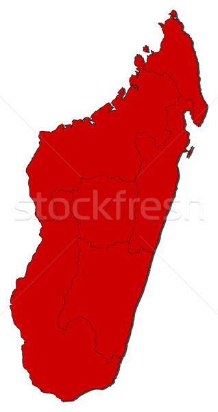 Kaart Madagascar gekleurd Rood abstract wereld Stockfoto © Schwabenblitz