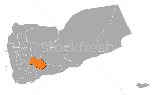 Map of Yemen, Al Bayda' highlighted Stock photo © Schwabenblitz