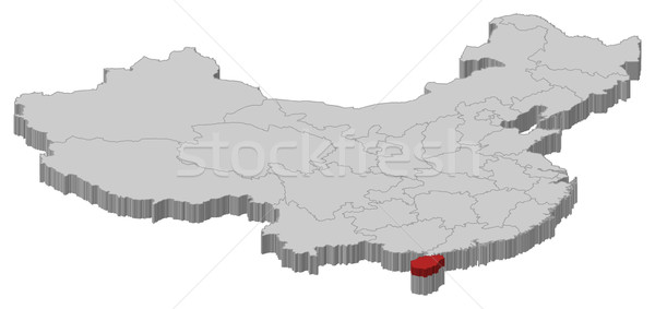 Map of China, Hainan highlighted Stock photo © Schwabenblitz