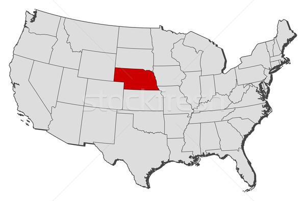 Mapa Estados Unidos Nebraska político vários abstrato Foto stock © Schwabenblitz