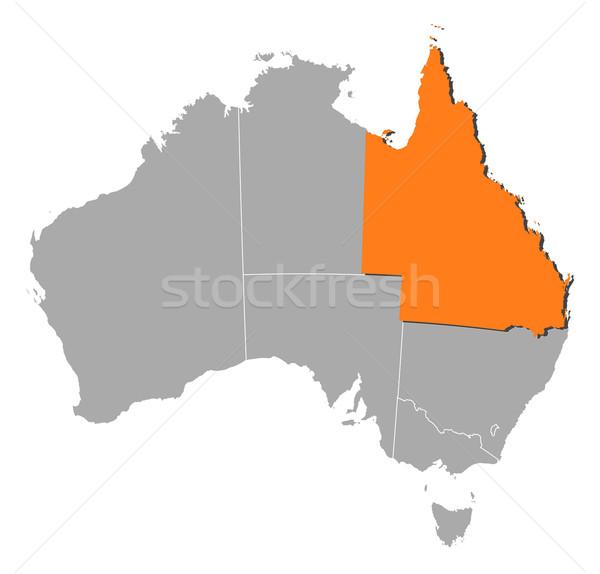 Kaart Australië queensland politiek verscheidene wereldbol Stockfoto © Schwabenblitz