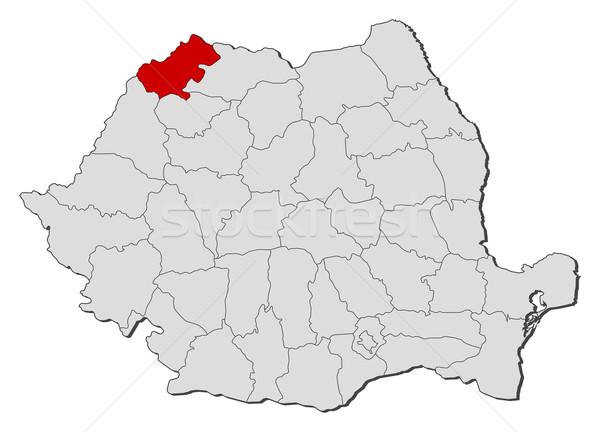 Map of Romania, Satu Mare highlighted Stock photo © Schwabenblitz