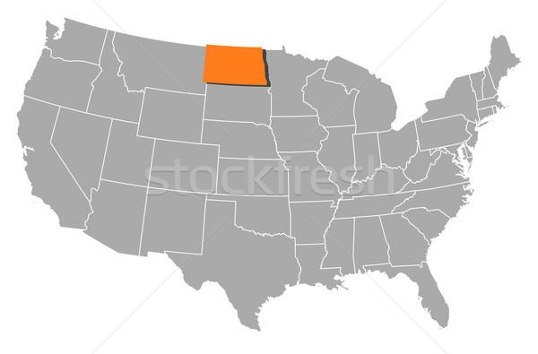 Harita Amerika Birleşik Devletleri Kuzey Dakota siyasi birkaç soyut Stok fotoğraf © Schwabenblitz