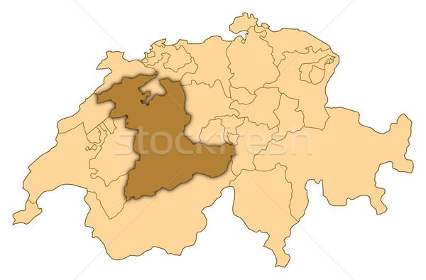 Map of Switzerland, Bern highlighted Stock photo © Schwabenblitz