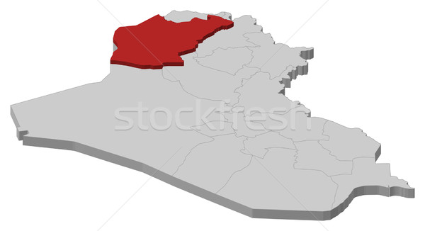 Map of Iraq, Ninawa highlighted Stock photo © Schwabenblitz