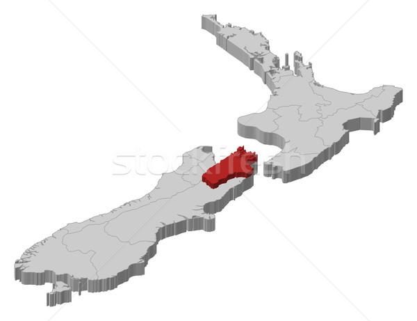 Map of New Zealand, Tasman highlighted Stock photo © Schwabenblitz