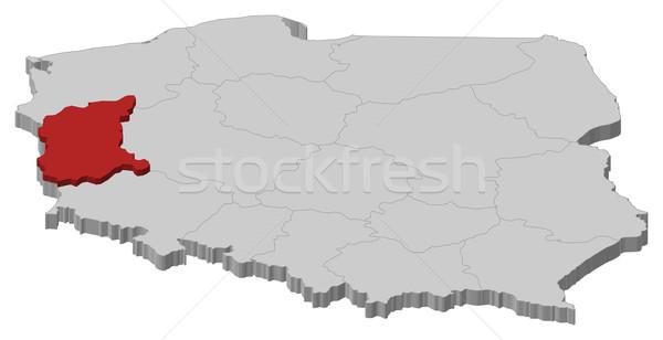 Map of Poland, Lubusz highlighted Stock photo © Schwabenblitz