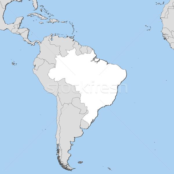 Stock fotó: Térkép · Brazília · politikai · néhány · absztrakt · világ