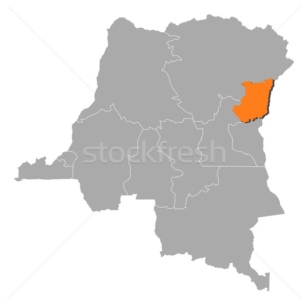Map of Democratic Republic of the Congo, North Kivu highlighted Stock photo © Schwabenblitz