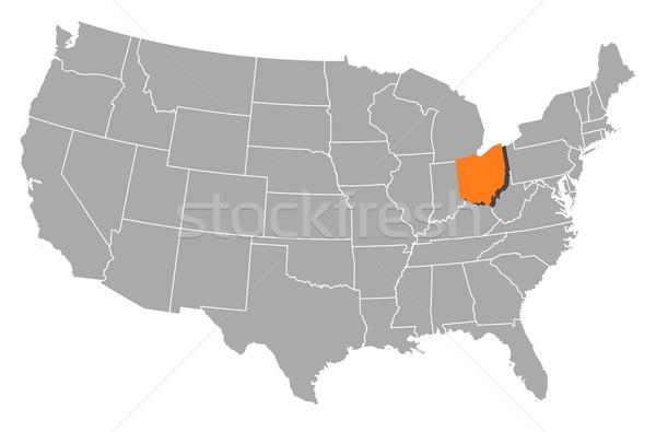 Map of the United States, Ohio highlighted Stock photo © Schwabenblitz
