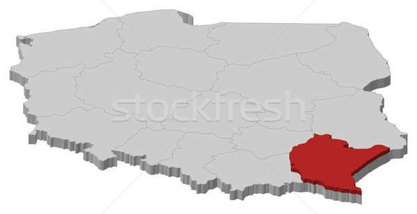 Map of Poland, Podkarpackie highlighted Stock photo © Schwabenblitz