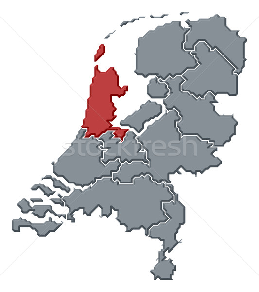 Map of Netherlands, North Holland highlighted Stock photo © Schwabenblitz