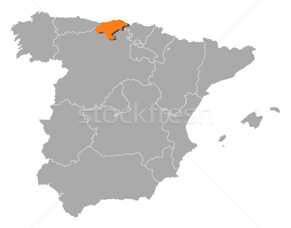 Map of Spain, Cantabria highlighted Stock photo © Schwabenblitz