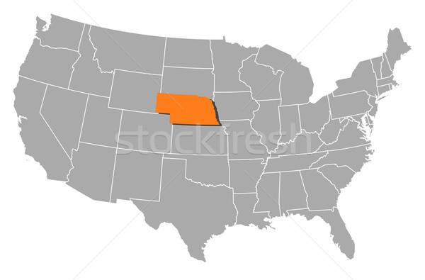 Térkép Egyesült Államok Nebraska politikai néhány absztrakt Stock fotó © Schwabenblitz