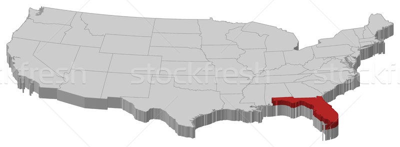 Map of the United States, Florida highlighted Stock photo © Schwabenblitz