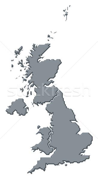Foto d'archivio: Mappa · Regno · Unito · politico · parecchi · paesi · abstract