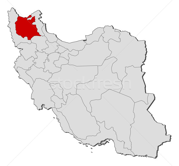 Map of Iran, East Azerbaijan highlighted Stock photo © Schwabenblitz