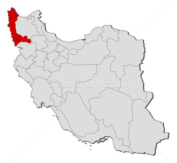 Stock fotó: Térkép · Irán · nyugat · Azerbajdzsán · politikai · néhány