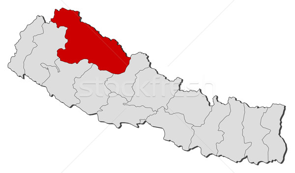 Map of Nepal, Karnali highlighted Stock photo © Schwabenblitz