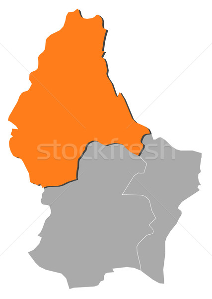 Map of Luxembourg, Diekirch highlighted Stock photo © Schwabenblitz