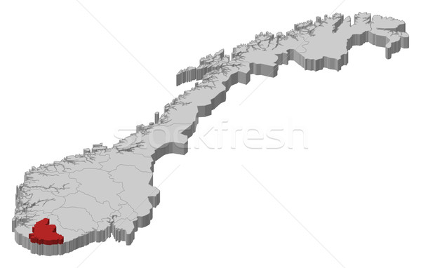Map of Norway, Vest-Agder highlighted Stock photo © Schwabenblitz