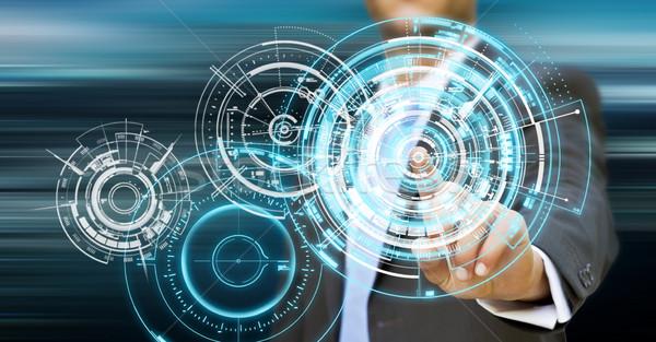 бизнесмен технологий интерфейс пальцы бизнеса компьютер Сток-фото © sdecoret