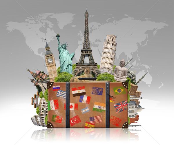 illustration of a suitcase full of famous monument Stock photo © sdecoret