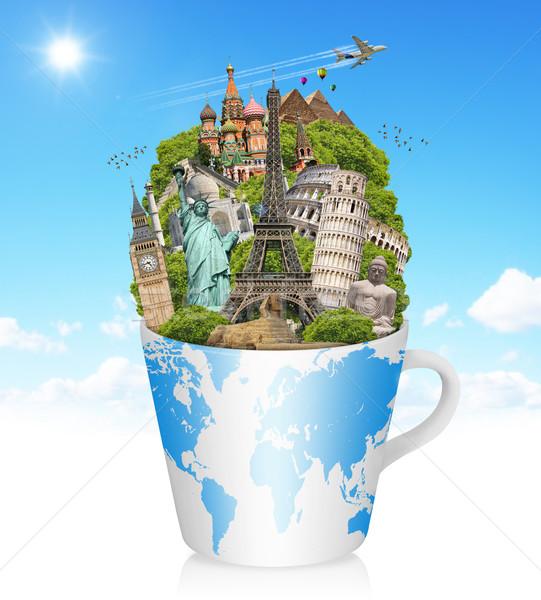 Illustration célèbre monde monuments tasse café Photo stock © sdecoret