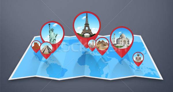 памятники Мир карта известный Мир вместе карта Сток-фото © sdecoret