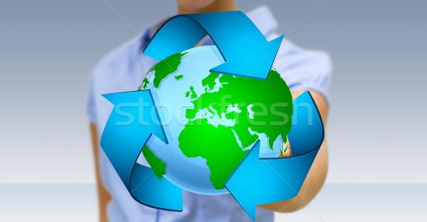 Foto stock: Empresária · reciclagem · ícone · planeta · terra · mão