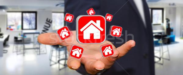Businessman using modern application to rent a flat Stock photo © sdecoret
