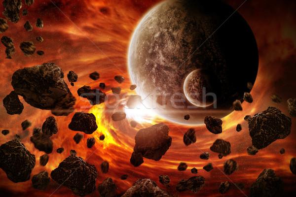 Météorite planète espace vue ciel monde Photo stock © sdecoret