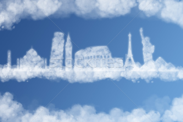illustration of clouds representing famous monuments Stock photo © sdecoret