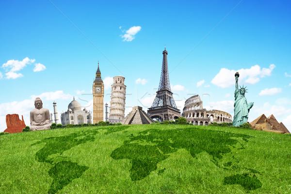 Illustrazione noto erba verde monumenti mondo terra Foto d'archivio © sdecoret