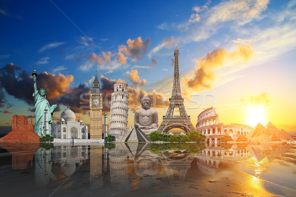 Műemlékek világ illusztráció híres tengerpart naplemente Stock fotó © sdecoret