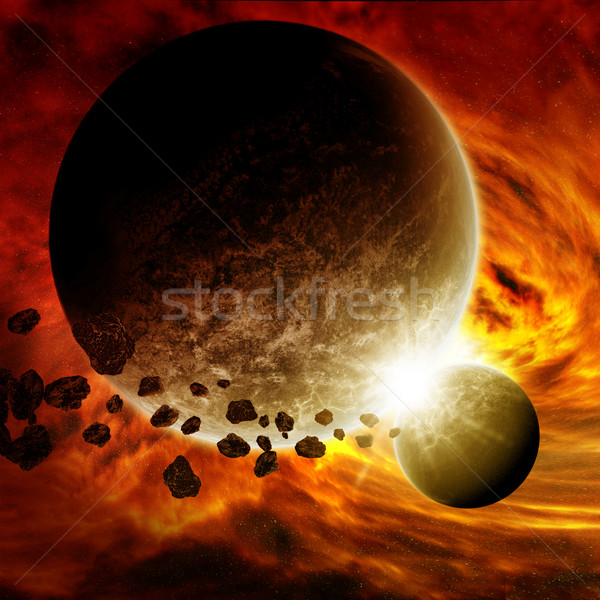 Meteorite impact on a planet in space Stock photo © sdecoret