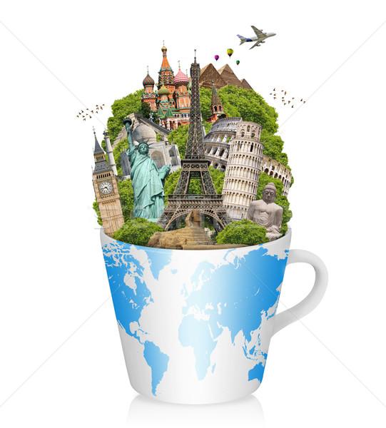 Ilustración famoso mundo monumentos taza café Foto stock © sdecoret