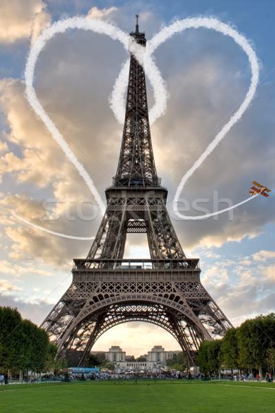 ストックフォト: 愛 · パリ · エッフェル塔 · 市 · 太陽 · 中心