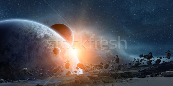 Stock photo: Sunrise over planet Earth in space