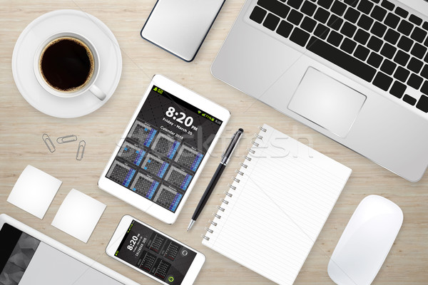 Workplace with tech device Stock photo © sdecoret