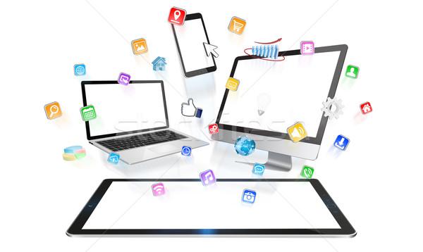 современных цифровой Tech коллекция белый Сток-фото © sdecoret