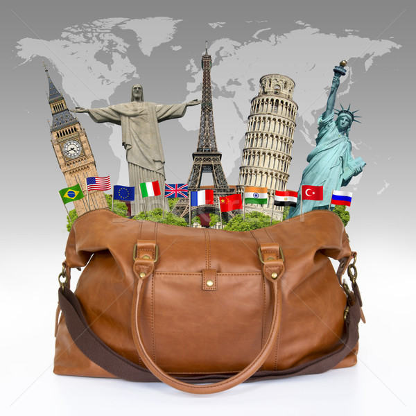 illustration of a travel bag full of famous monument Stock photo © sdecoret