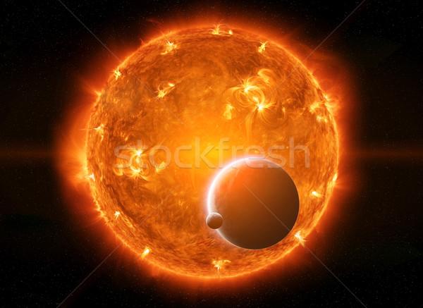 Sole spazio vicino pianeta terra luna cielo Foto d'archivio © sdecoret