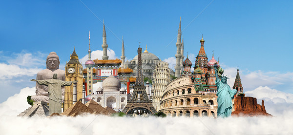Ilustración famoso mundo monumentos tierra verano Foto stock © sdecoret
